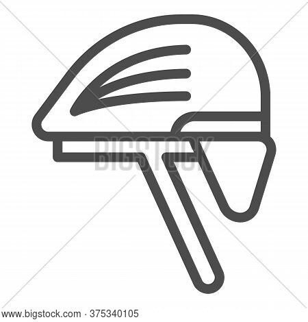 Cyclist Helmet Line Icon, Cyclist Equipment Concept, Bike Protective Hat Sign On White Background, B