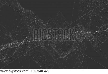 Abstract Polygonal Space Low Poly Dark Background With Connecting Dots And Lines. Connection Structu