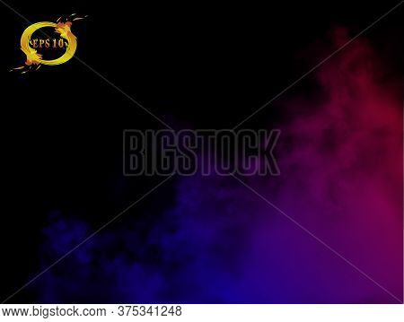 Blue, Rose, Red Gradient Clouds On The Black Background. 3d Realistic Vector Illustration Of The Col