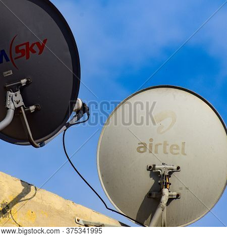 Delhi, 5 July 2020, India: Satellite Dish And Antenna Of Dish Tv, Tata Sky, Videocon Dth And Other D