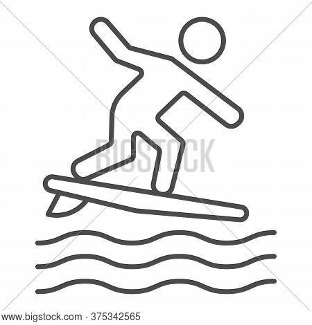 Surfing Thin Line Icon, Summer Water Sport Concept, Surfer And Waves Sign On White Background, Man S
