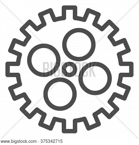 Bike Gear Line Icon, Bicycle Details Concept, Bicycle Crank Sign On White Background, Bicycle Gear I
