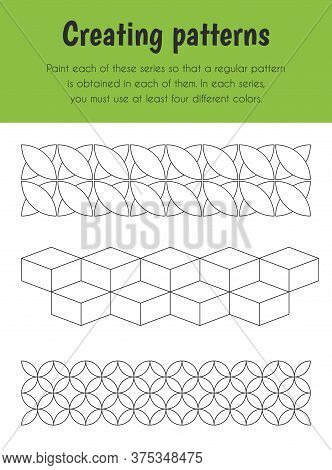Creating Patterns Educational Sheet. Primary Module For Logic Reasoning. 5-6 Years Old. Educational