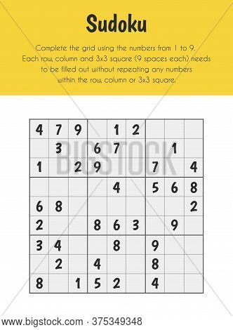 Sudoku Educational Sheet. Primary Module For Numerical Ability. 5-6 Years Old. Educational Sheets Se