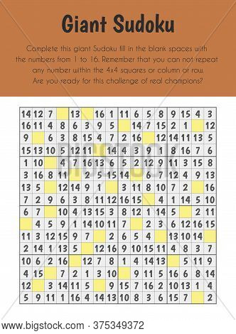 Giant Sudoku Educational Sheet. Primary Module For Numerical Ability. 5-6 Years Old. Educational She