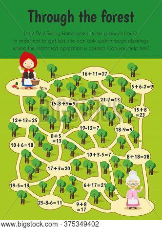Through The Forest Educational Sheet. Primary Module For Numerical Ability. 5-6 Years Old. Education