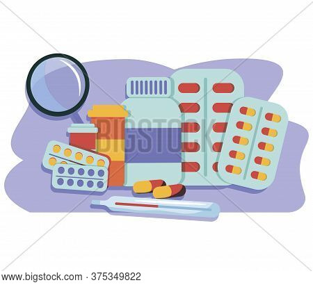 Various Meds. Pills, Capsules Blisters, Glass Bottles With Liquid Medicine And Plastic Tubes With Ca