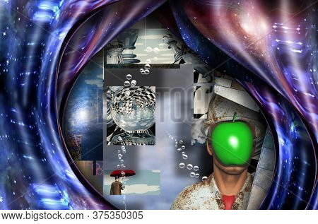 Complex surreal painting. Eye, pieces of puzzle, square elements, text. 3D rendering