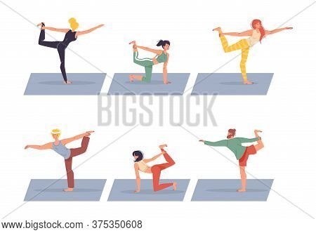 Diverse People Character Doing Balance Yoga Exercise Isolated Set. Healthy Man Woman In Sportswear W
