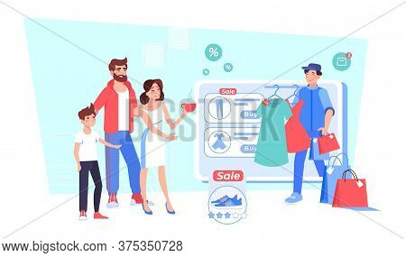 Happy Family Shopping In Online Fashion Clothes Boutique From Home. Parent Son Child Choosing Clothi