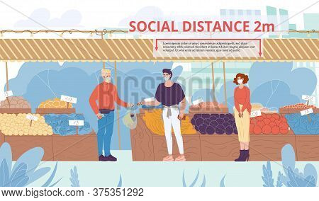 People Social Distancing At Food Market. Man Woman Young Family Couple, Salesman Wearing Protective