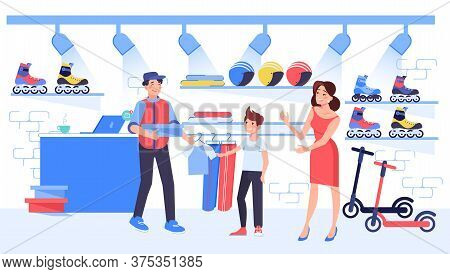 Mother Buy Sportswear For Child Son At Sport Store. Salesman Shop Assistant Help Boy To Choose T-shi