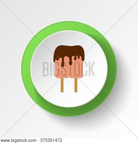 Ice Cream Chocolate Lilly Colored Button Icon. Element Of Ice Cream Illustration Icon. Signs And Sym