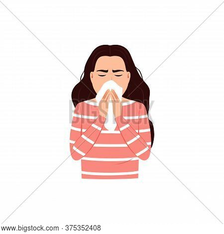 Sneezing Woman Covers Mouth And Nose With Tissue On White Background. Cough, Sneeze Into A Handkerch