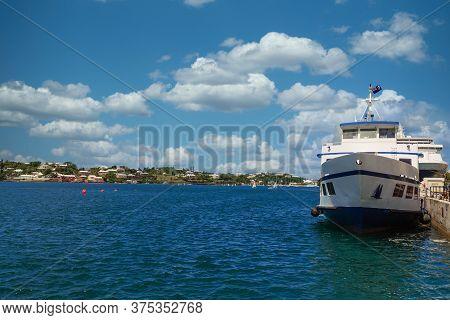 Blue And White Ferry In Hamilton, Bermuda