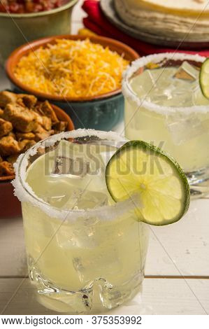 Glasses Of Margaritas And Chicken Taco Ingredients Fiesta Party