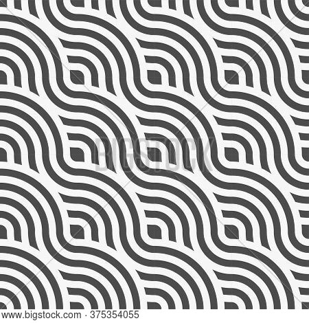 Seamless Abstract Graphic Curved Array Pattern. Repeat Ornate Vector Curly Decoration Texture. Conti