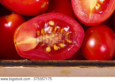 Close Up Wooden Box With Tomatoes