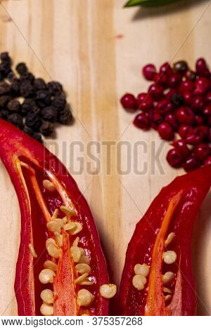 Close Up Of Red Pepper And Peppercorns