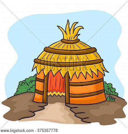 African Tribal Hut  Vector Illustration,  African Tribal Hut  Vector Illustration,  Isolated