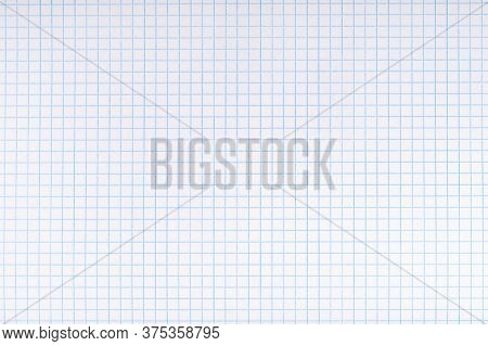 Exercise Book Paper Page With Squares, One Page. Blank Lined Worksheet Exercise Book For Math. Empty