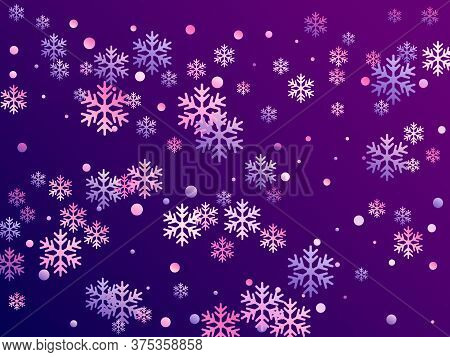 Crystal Snowflake And Circle Elements Vector Backdrop. Minimal Winter Snow Confetti Scatter Card Bac
