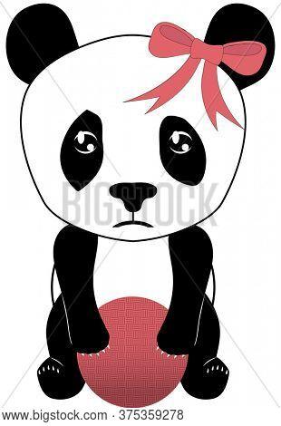 Sad Panda with Dodgeball Illustration