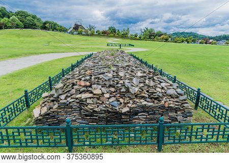Buyeo, South Korea; July 1, 2020: Collection Of Roof Shingles Excavated At Archeological Site In Buy
