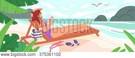 Woman Lying On Chaise-longue With Cocktail At Empty Beach Vector Flat Illustration. Female In Swimsu