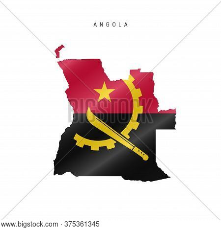 Detailed Waving Flag Map Of Angola. Vector Map With Masked Flag.