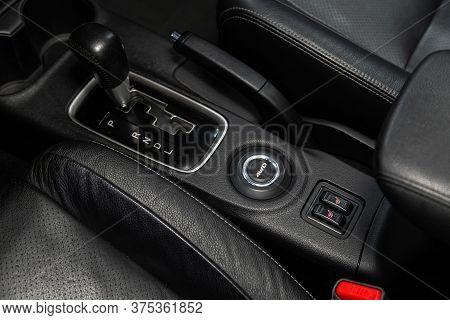 Novosibirsk/ Russia - June 23 2020: Mitsubishi Outlander, Gear Shift. Automatic Transmission Gear Of