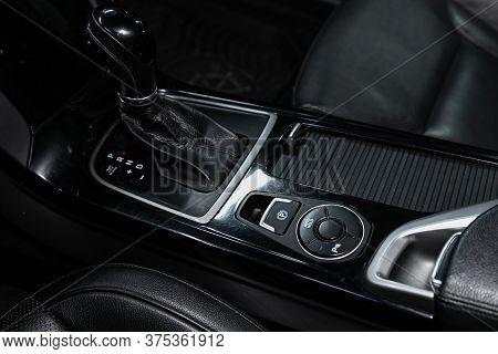 Novosibirsk/ Russia - June 30 2020: Hyundai I40, Gear Shift. Automatic Transmission Gear Of Car , Ca