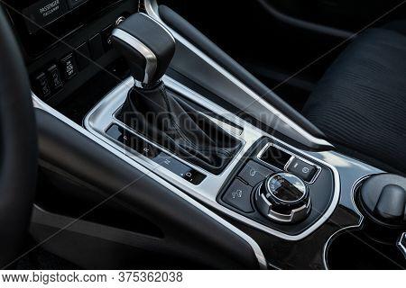 Novosibirsk/ Russia - July 07 2020: Mitsubishi Pajero Sport, Gear Shift. Automatic Transmission Gear