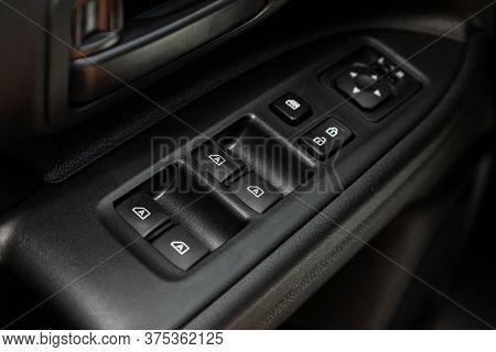 Novosibirsk/ Russia - July 07 2020: Mitsubishi Outlander, Close Up Of A Door Control Panel In A New
