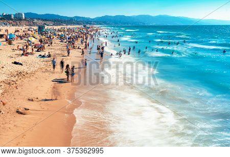 View Of The Santa Monica Beach In California