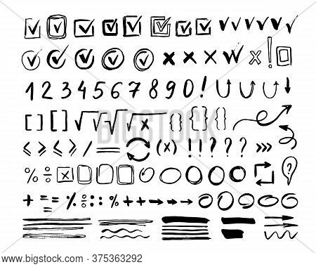 Hand Drawn Mark Icon Set Isolated On White Background. Doodle Checkmark, Arithmetic Number And Borde