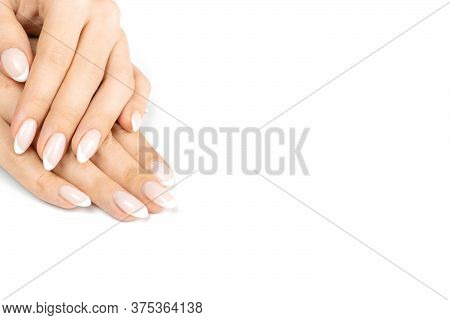Finger Hand. Manicure Nail, Beauty Female Hand Care With Polish Finger Isolated On White Background.