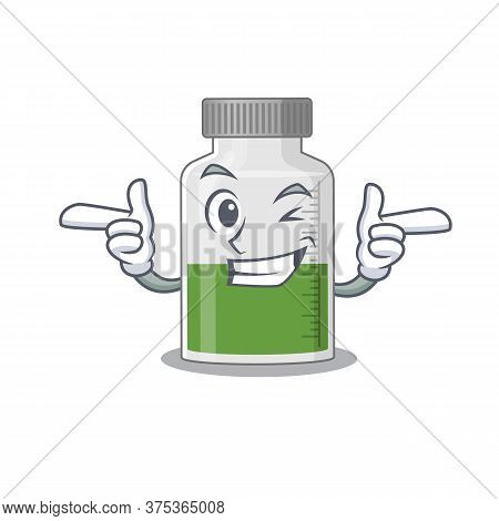 Cartoon Design Of Vitamin Syrup Showing Funny Face With Wink Eye