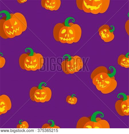 Seamless Pattern With Illuminated Carved Pumpkins For Halloween. Vector Illustration In Purple Backg