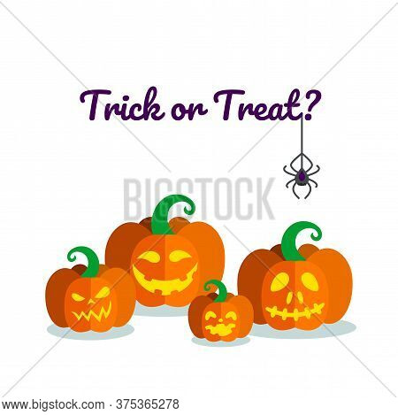 Carved Pumpkins Ready For Halloween. Holiday Poster With Traditional Lanterns And Spider. Vector Ill