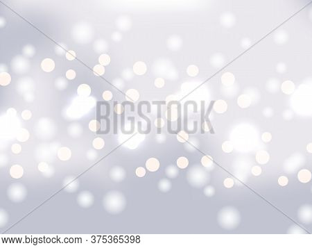 Silver Bokeh Background. Holiday Glowing Silver Lights With Sparkles. Festive Defocused Lights. Blur