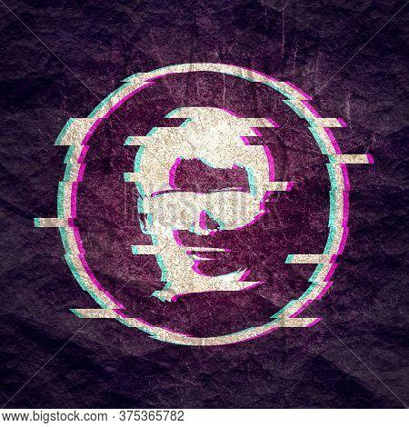 Glitched Human Portrait. Frame Design. Distorted Glitch Style Modern Background.