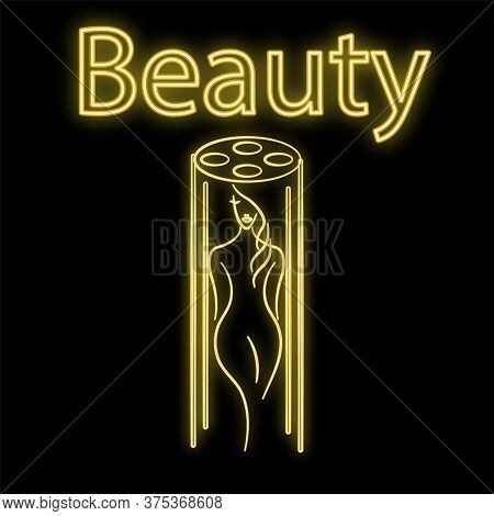 Bright Luminous Yellow Neon Sign For A Tanning Bed Of A Beauty Salon And A Tan Beautiful Brilliant B