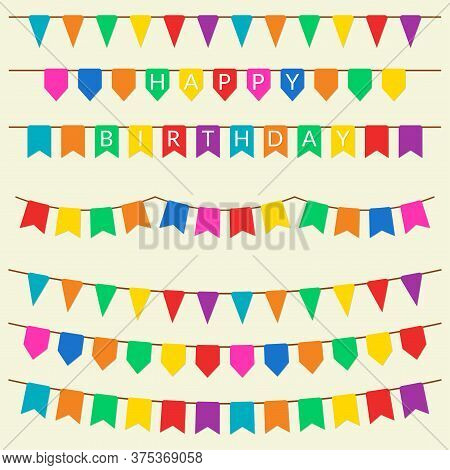 Festive Flag Set. Bunting Flags, Garland And Pennants Collection. Holiday, Birthday, Festival Decora