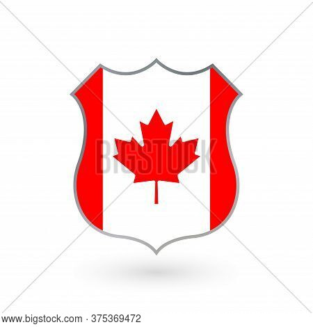 Flag Of Canada Icon In The Shape Of A Police Badge. Canadian National Symbol. Vector Illustration.