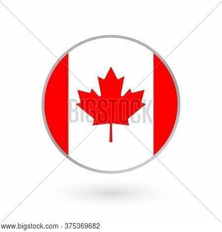 Canada Flag Icon Isolated On White Background. Canadian Round Badge. Vector Illustration.