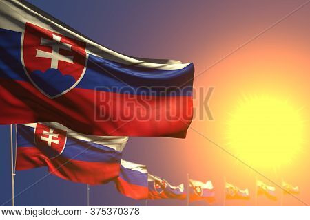 Pretty Independence Day Flag 3d Illustration  - Many Slovakia Flags On Sunset Placed Diagonal With S
