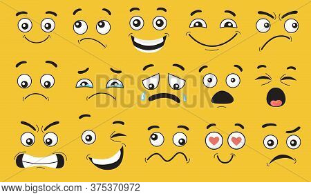 Comic Face Expressions Set. Smiling, Pensive, Happy, Crying, Shocked, Scared, Angry Cartoon Characte