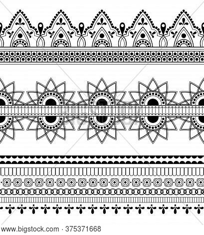 Henna Ethnic Art Borders Set. Indian Traditional Floral Ornament, Abstract Art, Mehdi Oriental Graph