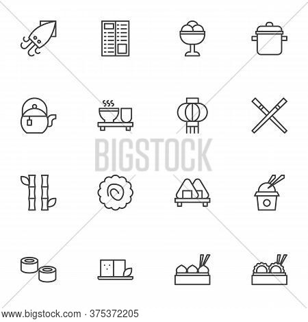 Asian Food Menu Line Icons Set, Outline Vector Symbol Collection, Asian Linear Style Pictogram Pack.